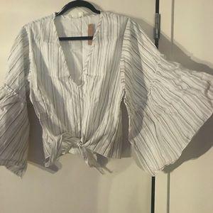 Tops - Stripe linen butterfly sleeve striped top